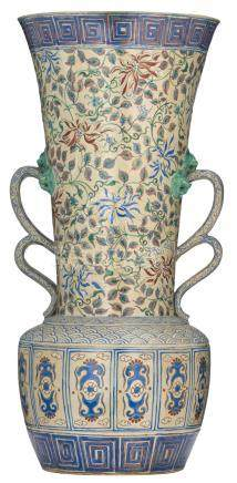 A large polychrome decorated stoneware vase, probably made in Southeast Asia for the Persian market, H 91,5 cm - top Ø 41,5 cm