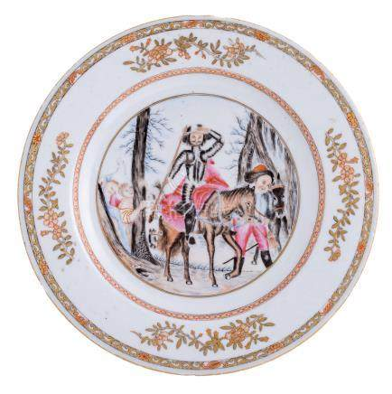 A Chinese famille rose export porcelain dish, depicting an animated scene with Don Quixote and Sancho Panza, ø 23 cm