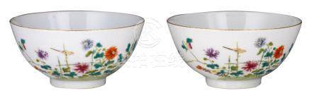 Two Chinese famille rose bowls, decorated with chrysanthemum, peaches and bamboo, marked Guangxu and period, H 6 - ø 12,5 cm