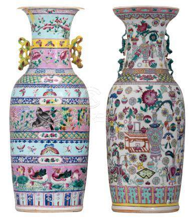 A Chinese polychrome ground famille rose vase, decorated with flowers, birds and butterflies, 19thC; added a ditto one hundred antiquities decorated vase, H 60,5 - 61 cm