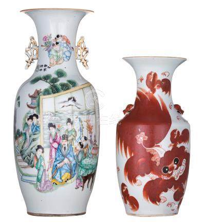 A Chinese famille rose vase, decorated with a dignitary and his attendants, birds, flower branches and calligraphic texts, signed; added a Chinese iron red vase, decorated with Fu lions and calligraphic texts, H 43,5 - 56 cm