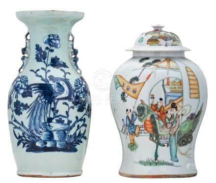 A Chinese polychrome vase and cover, decorated with an animated garden scene and a calligraphic text; added a Chinese celadon ground blue and white vase, decorated with flowers, a rock and a mythical bird, 19thC, H 40 - 43 cm