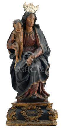 An 18thC polychrome painted (walnut) sculpture depicting Our Lady and Child, with a silver crown, H 52 cm