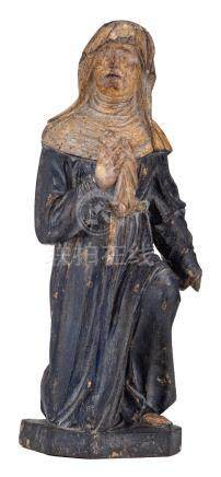 A religious wooden sculpture with polychrome paint and depicting a mourning St. Magdalene, 18thC, H 33,5 cm