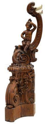 A sculpted oak, figural newel post, decorated with floral carved volutes, 18th/19thC, H 166 cm