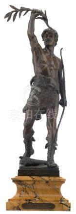 Marioton E., 'Vainqueur', patinated bronze, on a yellow Siena marble base, marked 'Siot-Decauville fondeur-éditeur', with dedication 'La chambre syndicale de la bijouterie fantaisie à Alfred Mascurand', H 71 (without base) - 84,5 cm (with base)