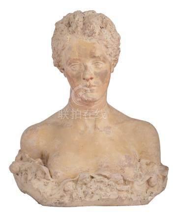 Neutens Semen, a polychrome painted white terracotta ladies bust, dated 1920, H 49,5 cm