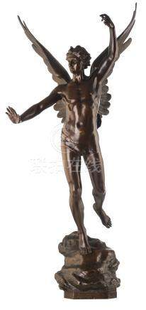 Daillion H., an allegorical winged figure of triumph, patinated bronze, H 125 cm