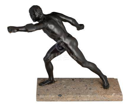 No visible signature, an athlete in action, a patinated bronze after the antique, on a 'crema luna' marble base, H without base 42 - with base 45,5 cm