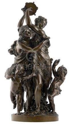 Schoenewerk, a Bacchus family, patinated bronze, H 59 cm