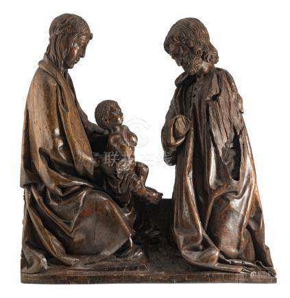 A 16thC (walnut) Holy Family sculpture, probably German, H 81 cm
