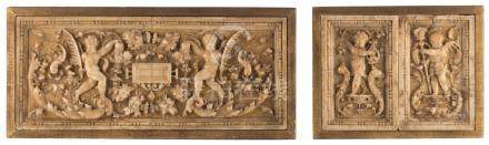A three pieces alabaster frieze, renaissance decorated with putti, Malines early 17thC, the central part 18,5 x 44 cm - both side parts 12,5 x 19 cm (in one frame) / framed 21,5 x 42 - 22 x 27,7 cm