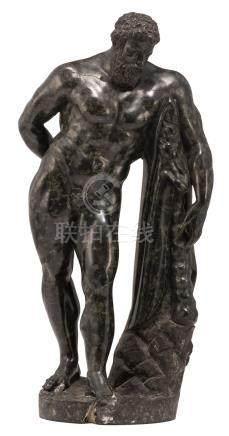 A probably still 18thC Grand Tour souvenir depicting the Farnese Hercules, serpentine stone, H 35,3 cm