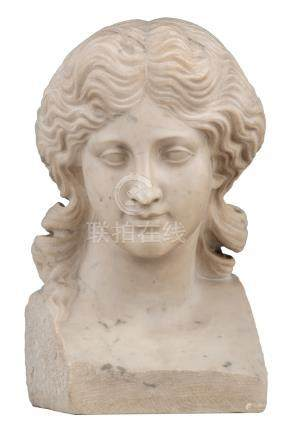 No visible signature, a womans head after the antique, white Carara marble, H 29,5 cm