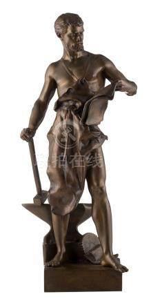 Germain J.B., the metallurgy, patinated bronze, H 38 cm
