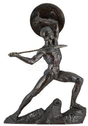 Muguet G., 'Le Héros' a Spartan warrior, dark patinated bronze, with a dedication, H 87 cm