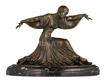 Chiparus D.H., a Thai dancer, bronze on a marble base, H (without base) 23,5 - (with base) 27,5 cm