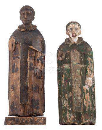 Two 18th/19thC Southern European or South American polychrome decorated monks, H 27 - 31 cm