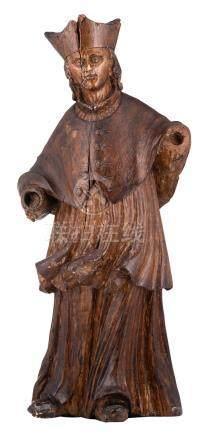 A 17th/18thC oak sculpture depicting a cleric, traces of polychrome paint, H 57,5 cm