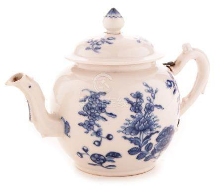 A mid 18th Century Chinese white porcelain bullet shapewd teapot.