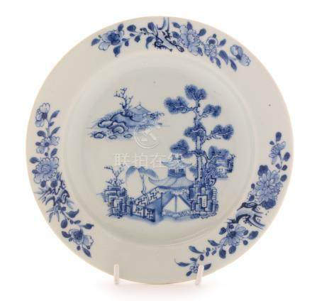 Chinese blue and white Nanking cargo plate...