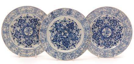 Three Chinese blue and white plates