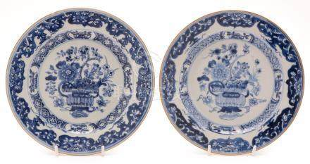 A pair of Chinese blue and white export plates