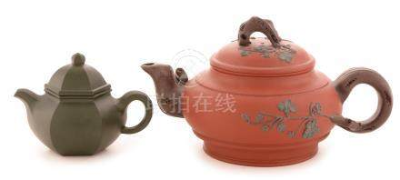 Two Chinese stoneware teapots and covers.