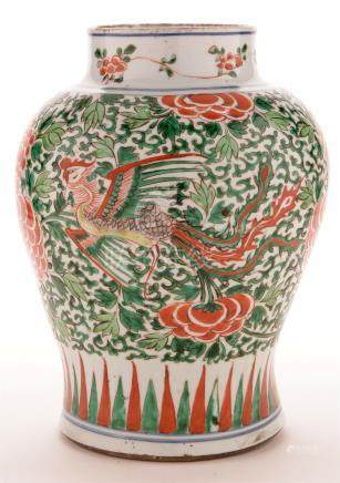 Chinese Wucai Transitional inverted baluster vase,