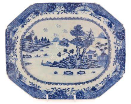 18th Century Chinese blue and white canted meat dish