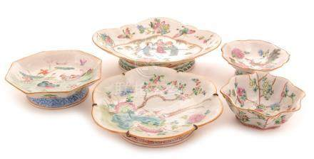 Five twentieth century Chinese Famille Rose dishes
