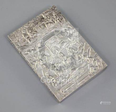A Chinese export silver card case, 19th century, maker's mark L.W., embossed with figures amid
