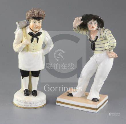 Two Samuel Alcock bone china figures 'The Pot Boy' and another of a deckhand, c.1830-40, the first