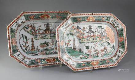 A pair of Chinese export famille verte canted rectangular meat dishes, Kangxi period, each painted