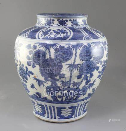 A large Chinese blue and white baluster shaped jar, Ming dynasty or later, painted with flowers,