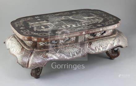 A Chinese Ryuku Islands lacquer and mother of pearl small Kang table, 17th/18th century, the top and