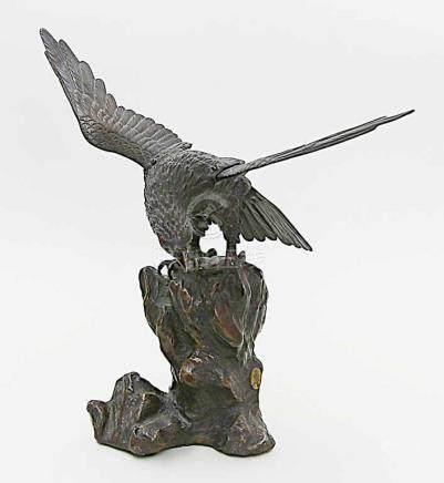Große Adler-Skulptur.Bronze, dunkel patiniert, vierteilig. Der in einen bizarren, mit Efeu
