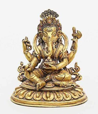 Skulptur des Ganesha auf Lotussockel mit Ratte.Feuervergoldete Bronze, Besatz von