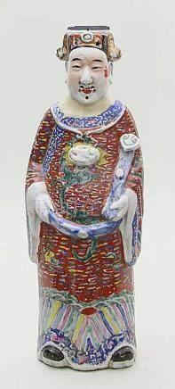 Grosse Skulptur eines Herrschers.Porzellan. Stehend dargestellt, in den Händen Ruyi-Szepter.