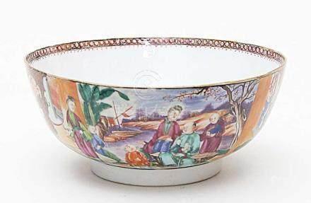 Große Schale.Porzellan. Außenwandung mit bunt gemalten Landschaftsdarstellungen, Damen, Gelehrten