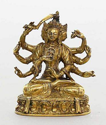 "Miniatur-Skulptur ""Ushnishavijaya"".Feuervergoldete Bronze, 80 g. Fein detaillierte Ausformung mit"