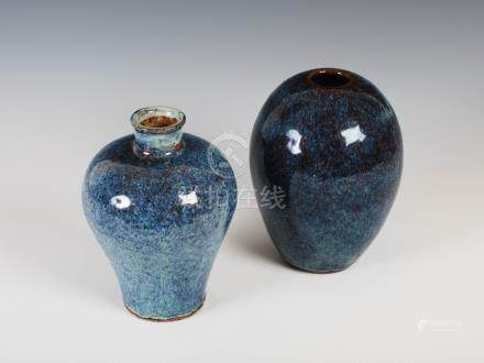Two Chinese purple and blue glazed vases, Qing Dynasty, one oviform shaped, bearing four character