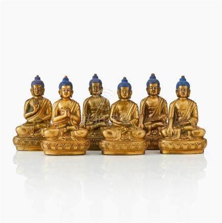A set of six Mongolian gilt brass Medicine Buddha retinue figures