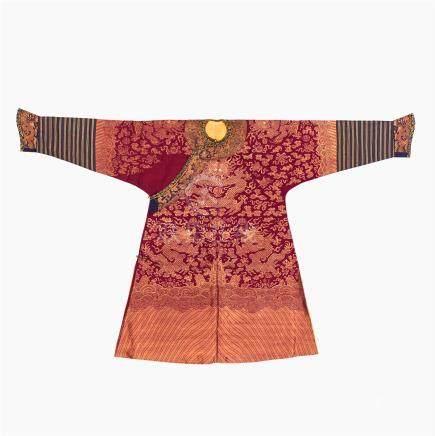 A burgundy red ground dragon robe