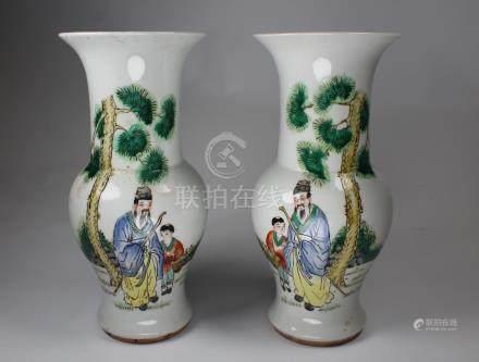 Antique Chinese Porcelain Figural Vases, Signed