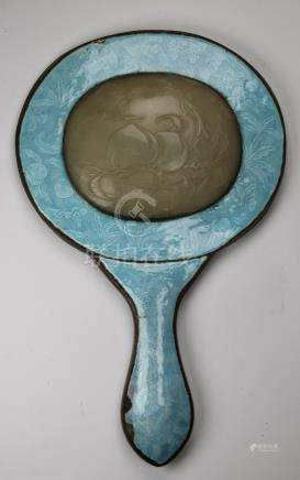 Antique Chinese Enameled/Jade Inset Mirror
