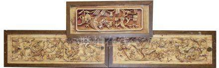 (3) Chinese Carved Architectural Dragon Panels