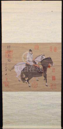 """Chinese """"Horse Tending"""" Scroll, After Han Kan"""