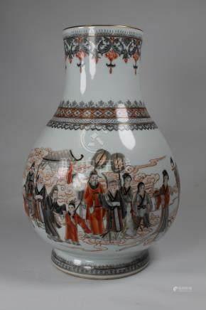 Chinese Calligraphy Signed Figural Porcelain Vase