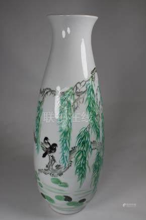 Large Chinese Hand Painted Porcelain Vase, Signed